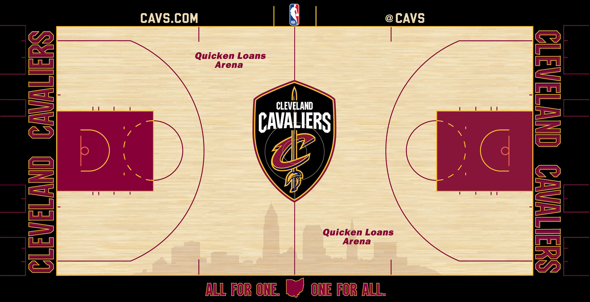b9791207f0c A shaded silhouette of the Cleveland skyline is front and center on the  bottom half of the court represents the pride and excitement the Cavs bring  to the ...